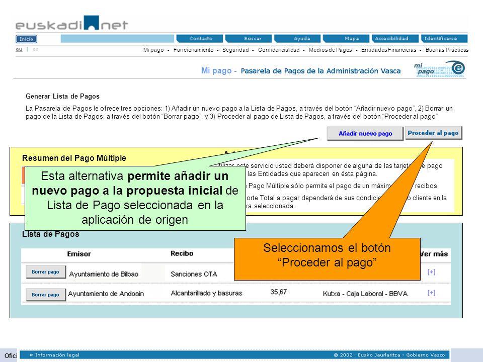63 Oficina para la Modernización Administrativa Resumen del Pago Múltiple Mi pago - Funcionamiento - Seguridad - Confidencialidad - Medios de Pagos -
