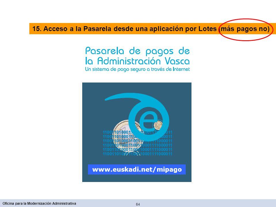 64 Oficina para la Modernización Administrativa www.euskadi.net/mipago 15. Acceso a la Pasarela desde una aplicación por Lotes (más pagos no)