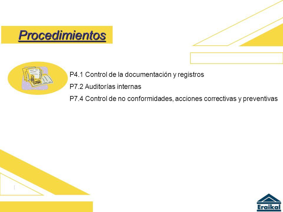Procedimientos P4.1 Control de la documentación y registros P7.2 Auditorías internas P7.4 Control de no conformidades, acciones correctivas y preventi