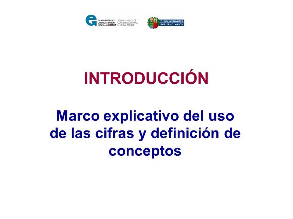 INTRODUCCIÓN Marco explicativo del uso de las cifras y definición de conceptos