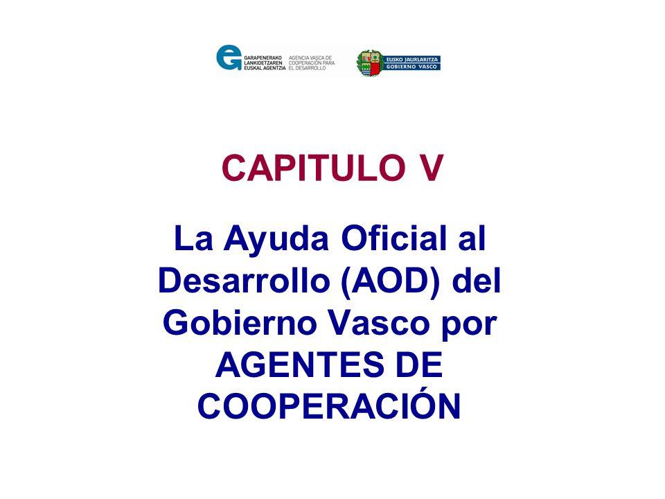 CAPITULO V La Ayuda Oficial al Desarrollo (AOD) del Gobierno Vasco por AGENTES DE COOPERACIÓN