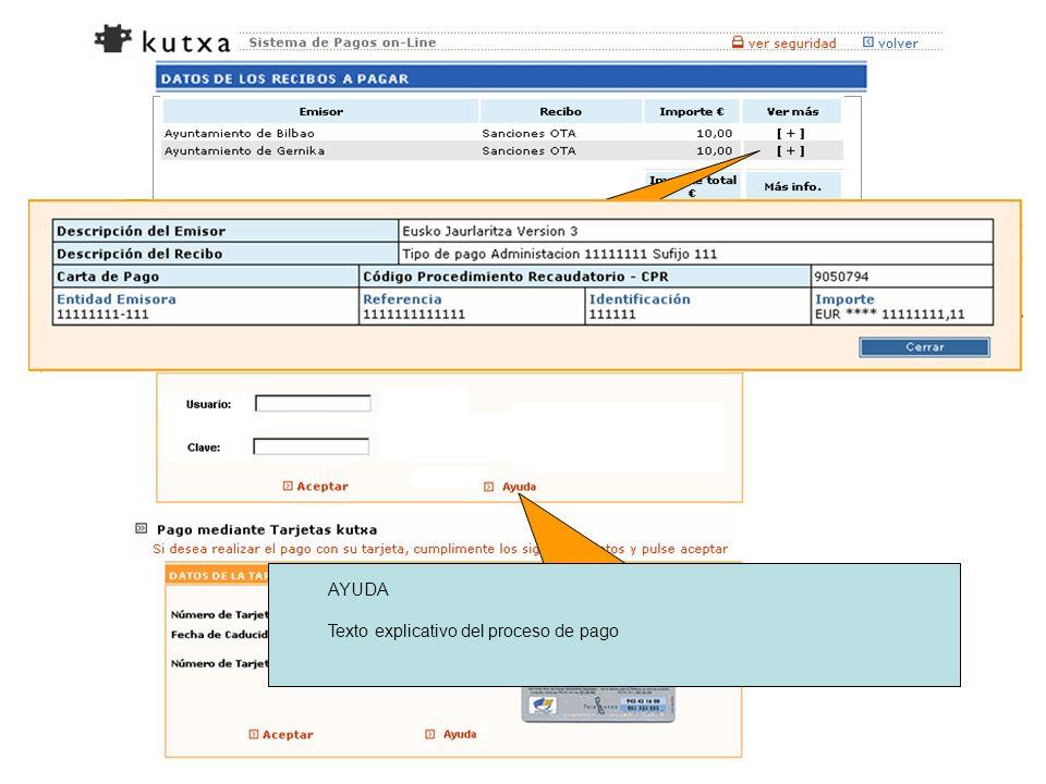 Seleccionando ayuda nos ofrece la siguiente información AYUDA Texto explicativo del proceso de pago Ver más [+], nos muestra los datos siguientes