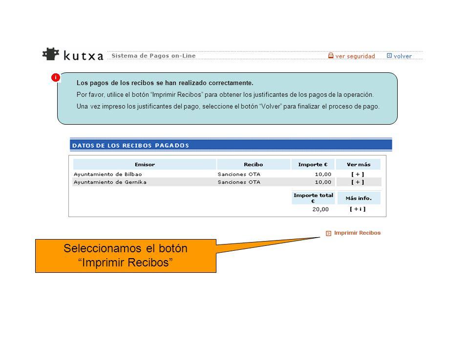 Los pagos de los recibos se han realizado correctamente. Por favor, utilice el botón Imprimir Recibos para obtener los justificantes de los pagos de l