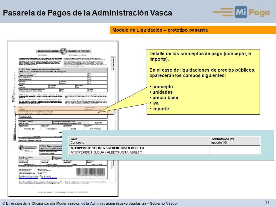11 © Dirección de la Oficina para la Modernización de la Administración (Eusko Jaurlaritza – Gobierno Vasco) Pasarela de Pagos de la Administración Vasca Detalle de los conceptos de pago (concepto, e importe).