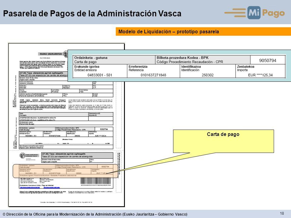 18 © Dirección de la Oficina para la Modernización de la Administración (Eusko Jaurlaritza – Gobierno Vasco) Pasarela de Pagos de la Administración Vasca Carta de pago Modelo de Liquidación – prototipo pasarela