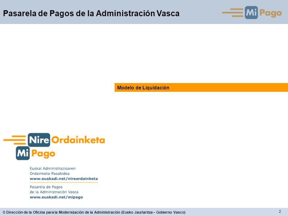 2 © Dirección de la Oficina para la Modernización de la Administración (Eusko Jaurlaritza – Gobierno Vasco) Pasarela de Pagos de la Administración Vasca Modelo de Liquidación