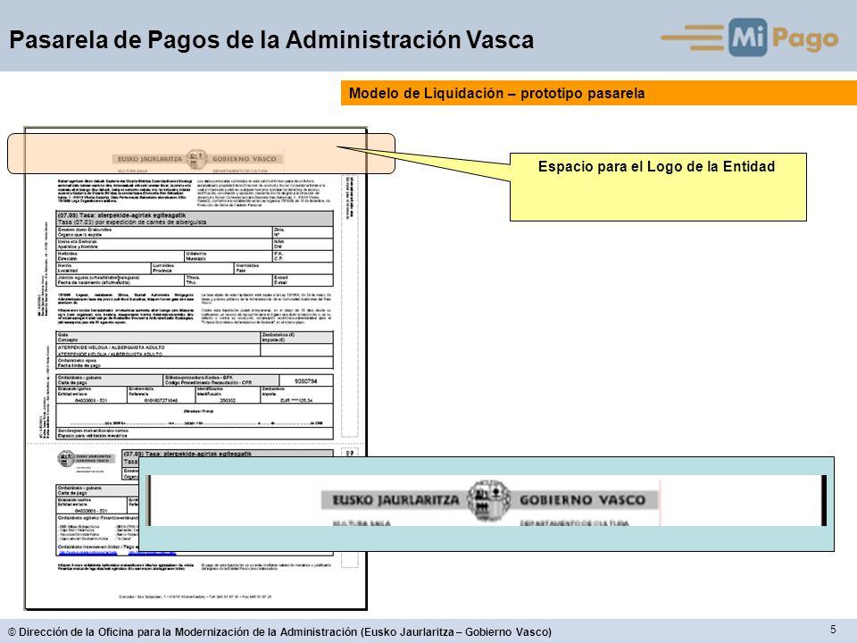 5 © Dirección de la Oficina para la Modernización de la Administración (Eusko Jaurlaritza – Gobierno Vasco) Pasarela de Pagos de la Administración Vasca Espacio para el Logo de la Entidad Modelo de Liquidación – prototipo pasarela