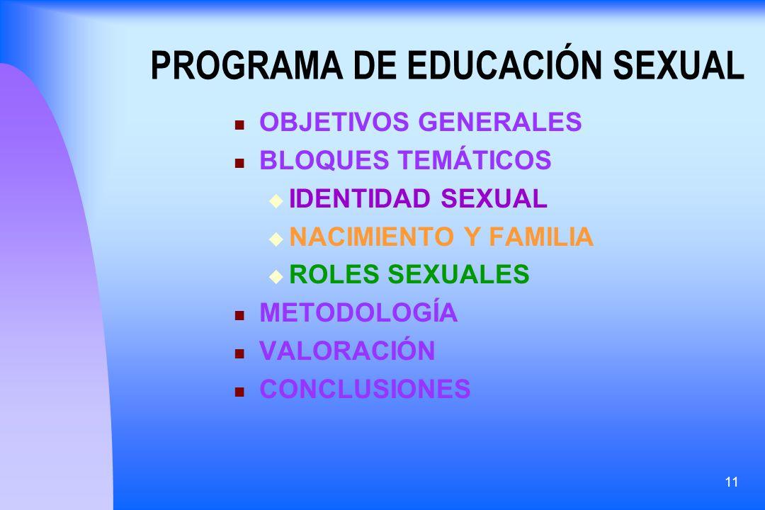 11 PROGRAMA DE EDUCACIÓN SEXUAL OBJETIVOS GENERALES BLOQUES TEMÁTICOS IDENTIDAD SEXUAL NACIMIENTO Y FAMILIA ROLES SEXUALES METODOLOGÍA VALORACIÓN CONC