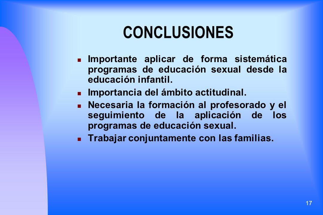 17 CONCLUSIONES Importante aplicar de forma sistemática programas de educación sexual desde la educación infantil. Importancia del ámbito actitudinal.