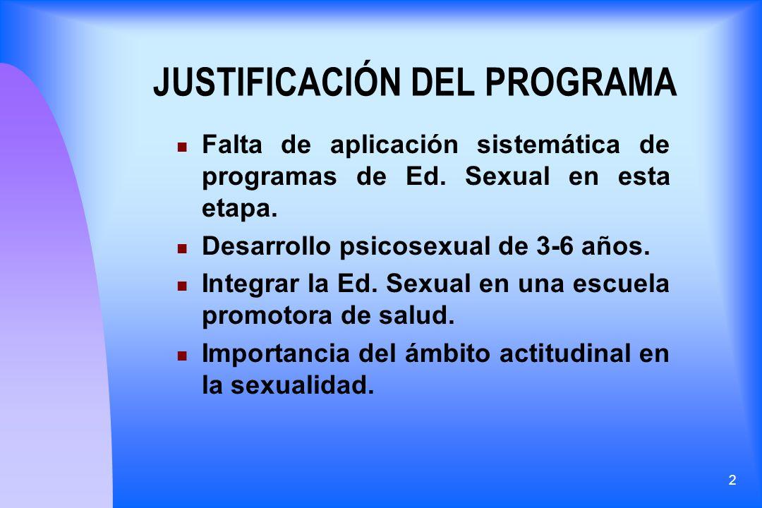 2 JUSTIFICACIÓN DEL PROGRAMA Falta de aplicación sistemática de programas de Ed. Sexual en esta etapa. Desarrollo psicosexual de 3-6 años. Integrar la