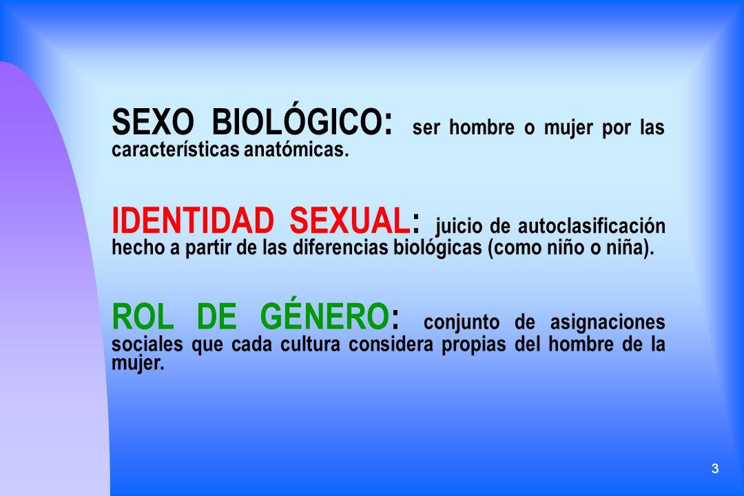 3 SEXO BIOLÓGICO : ser hombre o mujer por las características anatómicas. IDENTIDAD SEXUAL: juicio de autoclasificación hecho a partir de las diferenc