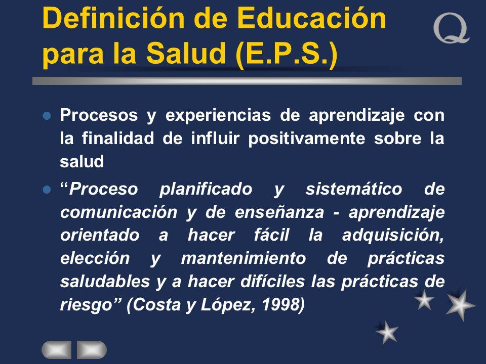 Definición de Educación para la Salud (E.P.S.) Procesos y experiencias de aprendizaje con la finalidad de influir positivamente sobre la salud Proceso