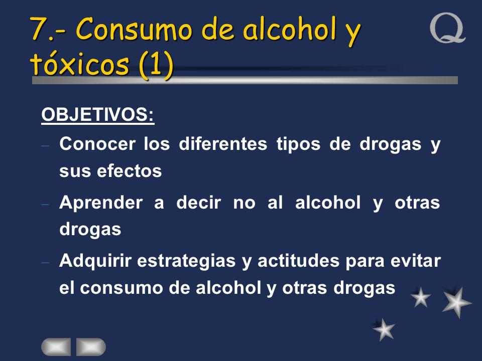 7.- Consumo de alcohol y tóxicos (1) OBJETIVOS: Conocer los diferentes tipos de drogas y sus efectos Aprender a decir no al alcohol y otras drogas Adq