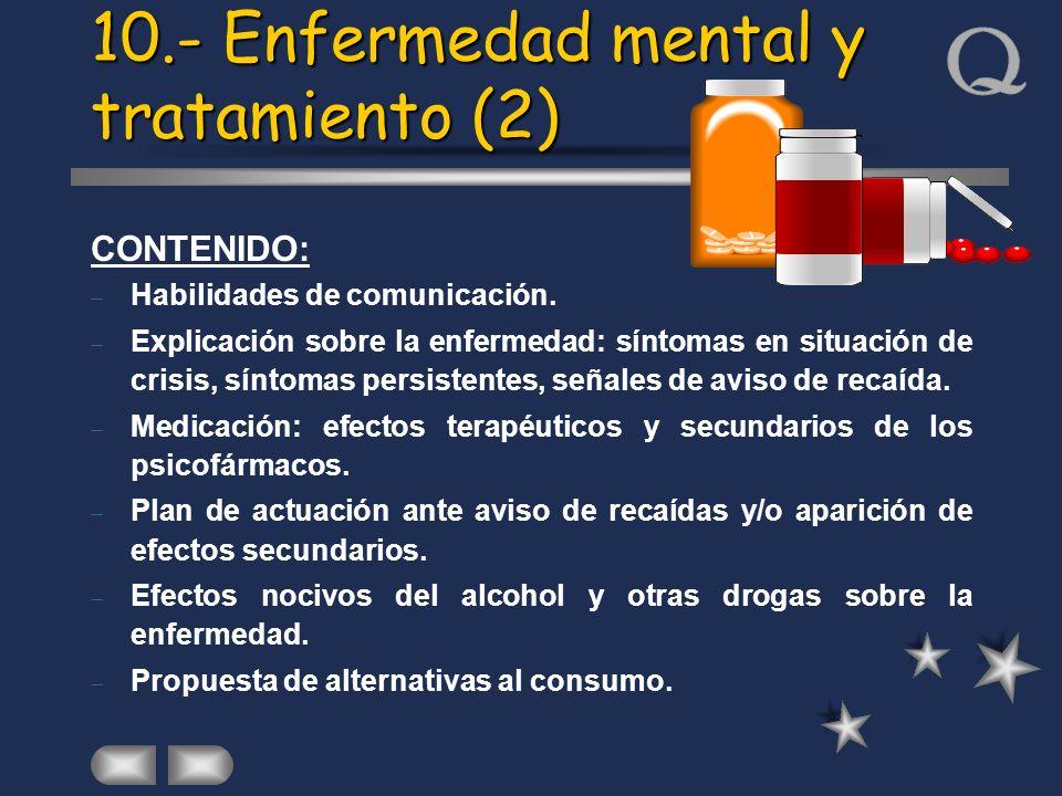 CONTENIDO: Habilidades de comunicación. Explicación sobre la enfermedad: síntomas en situación de crisis, síntomas persistentes, señales de aviso de r
