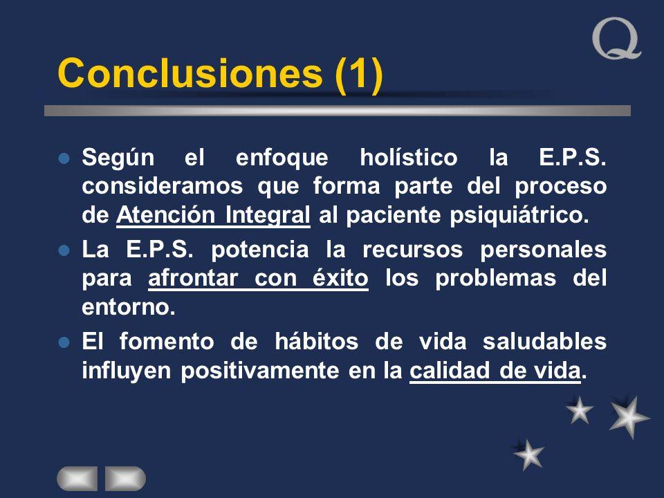 Conclusiones (1) Según el enfoque holístico la E.P.S. consideramos que forma parte del proceso de Atención Integral al paciente psiquiátrico. La E.P.S