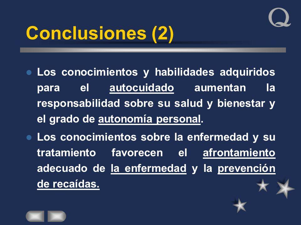 Conclusiones (2) Los conocimientos y habilidades adquiridos para el autocuidado aumentan la responsabilidad sobre su salud y bienestar y el grado de a