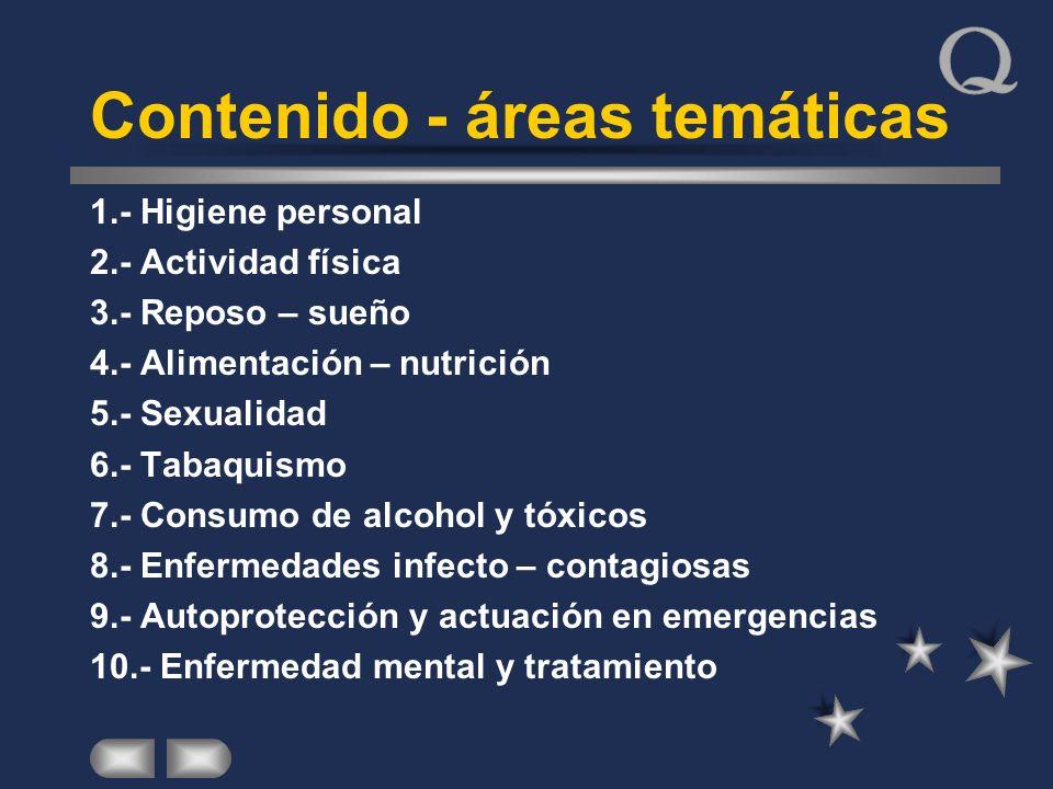 Contenido - áreas temáticas 1.- Higiene personal 2.- Actividad física 3.- Reposo – sueño 4.- Alimentación – nutrición 5.- Sexualidad 6.- Tabaquismo 7.