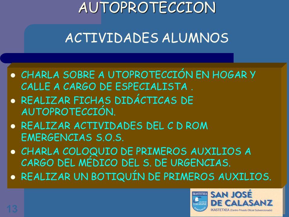 13 AUTOPROTECCION AUTOPROTECCION ACTIVIDADES ALUMNOS CHARLA SOBRE A UTOPROTECCIÓN EN HOGAR Y CALLE A CARGO DE ESPECIALISTA. REALIZAR FICHAS DIDÁCTICAS
