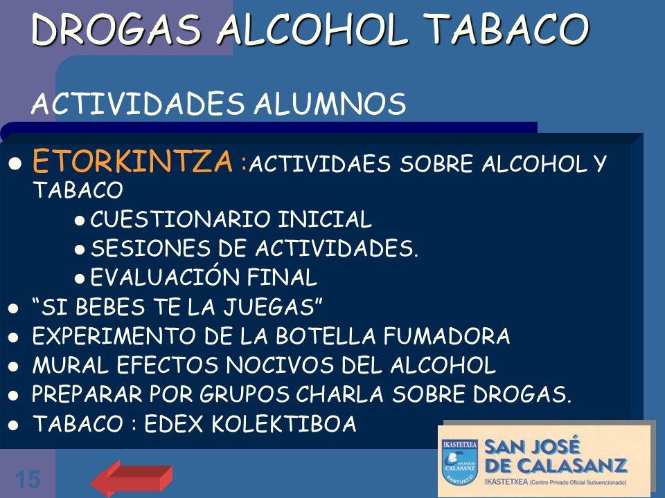 15 DROGAS ALCOHOL TABACO DROGAS ALCOHOL TABACO ACTIVIDADES ALUMNOS ETORKINTZA : ACTIVIDAES SOBRE ALCOHOL Y TABACO CUESTIONARIO INICIAL SESIONES DE ACT