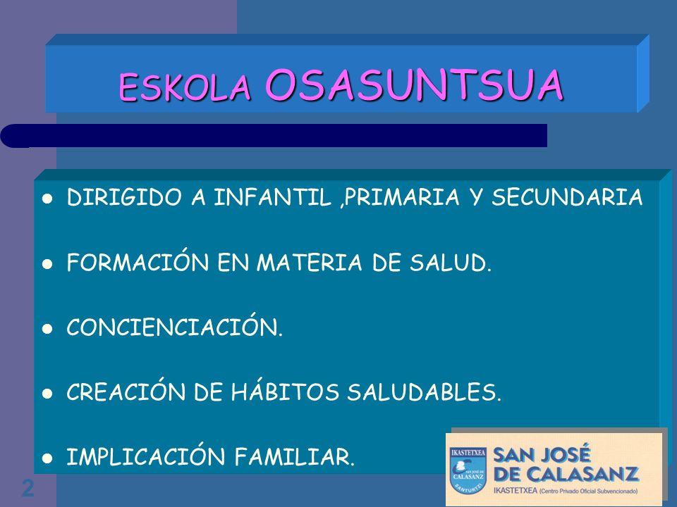 2 ESKOLA OSASUNTSUA DIRIGIDO A INFANTIL,PRIMARIA Y SECUNDARIA FORMACIÓN EN MATERIA DE SALUD. CONCIENCIACIÓN. CREACIÓN DE HÁBITOS SALUDABLES. IMPLICACI