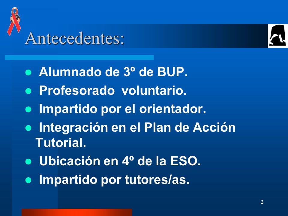 2 Antecedentes: Alumnado de 3º de BUP.Profesorado voluntario.