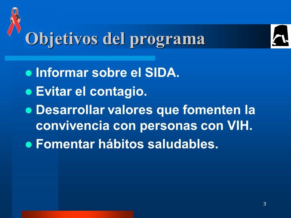 3 Objetivos del programa Informar sobre el SIDA.Evitar el contagio.