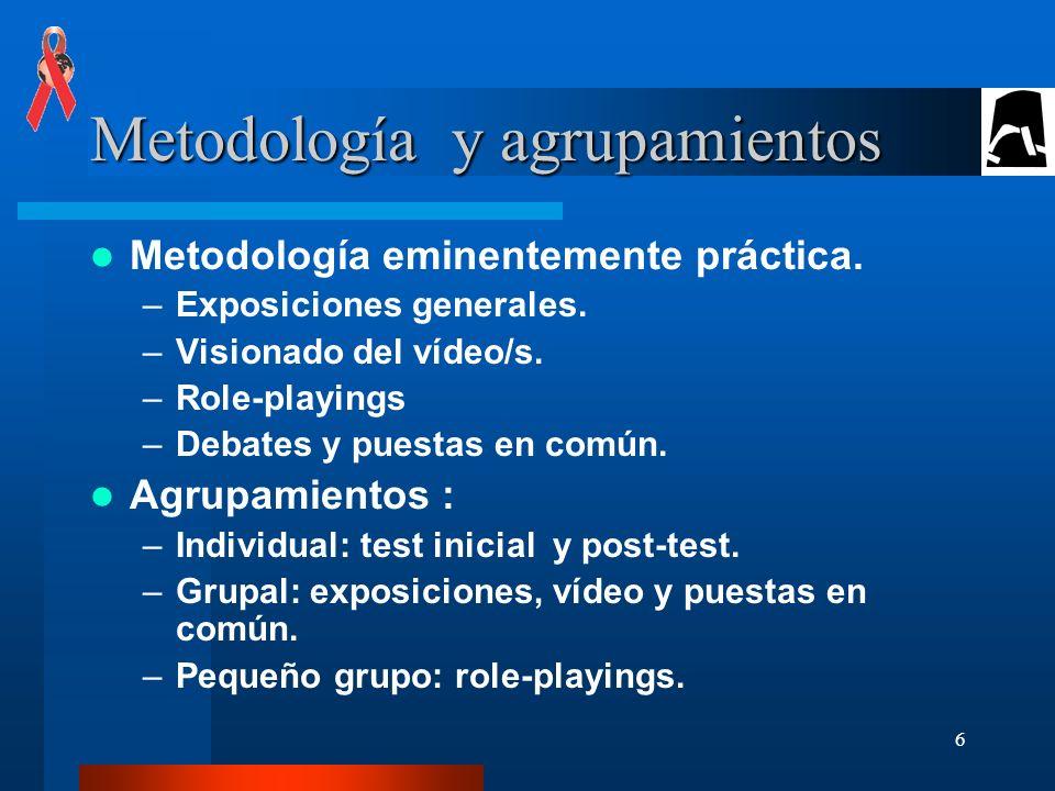 6 Metodología y agrupamientos Metodología eminentemente práctica.