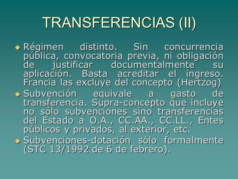 TRANSFERENCIAS (II) Régimen distinto.
