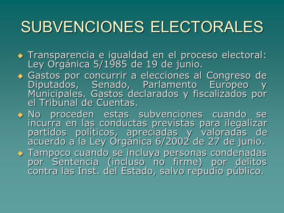 SUBVENCIONES ELECTORALES Transparencia e igualdad en el proceso electoral: Ley Orgánica 5/1985 de 19 de junio.