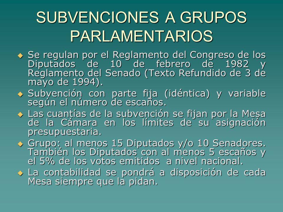SUBVENCIONES A GRUPOS PARLAMENTARIOS Se regulan por el Reglamento del Congreso de los Diputados de 10 de febrero de 1982 y Reglamento del Senado (Texto Refundido de 3 de mayo de 1994).