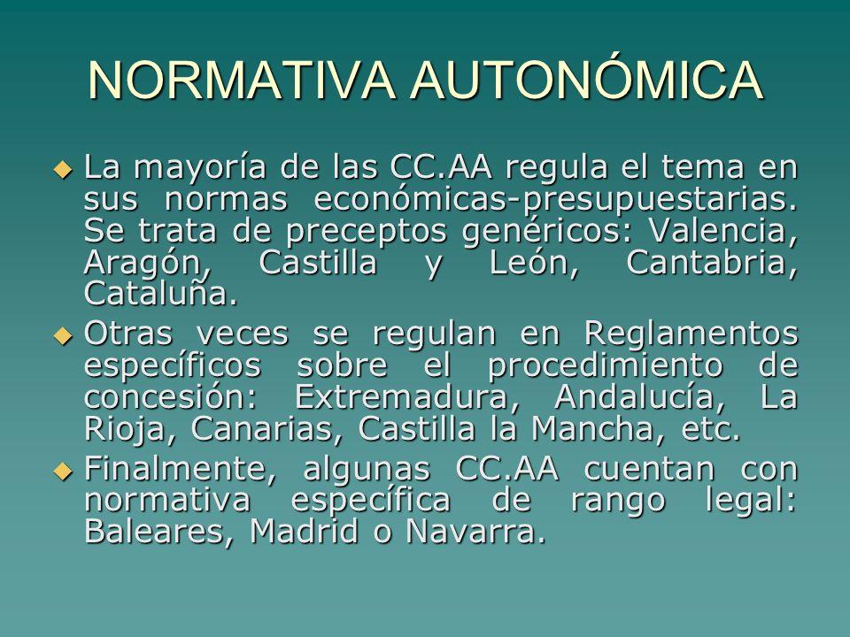 NORMATIVA AUTONÓMICA La mayoría de las CC.AA regula el tema en sus normas económicas-presupuestarias.
