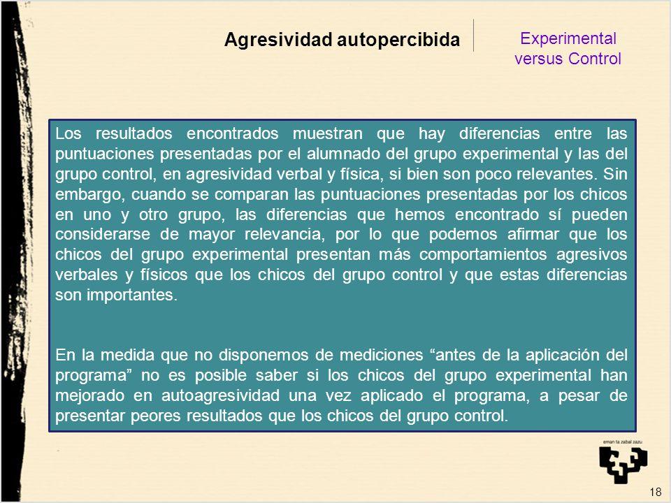 18 Agresividad autopercibida Experimental versus Control Los resultados encontrados muestran que hay diferencias entre las puntuaciones presentadas po