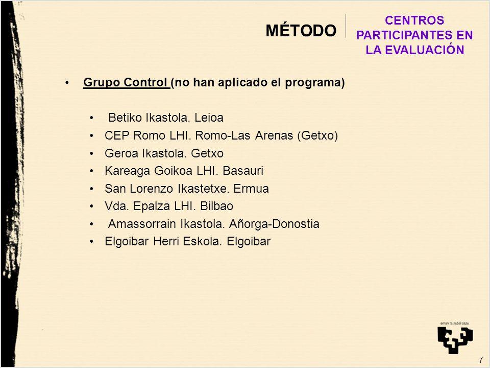 MÉTODO Grupo Control (no han aplicado el programa) Betiko Ikastola. Leioa CEP Romo LHI. Romo-Las Arenas (Getxo) Geroa Ikastola. Getxo Kareaga Goikoa L