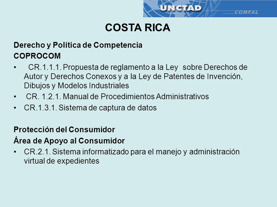 Derecho y Política de Competencia COPROCOM CR.1.1.1. Propuesta de reglamento a la Ley sobre Derechos de Autor y Derechos Conexos y a la Ley de Patente