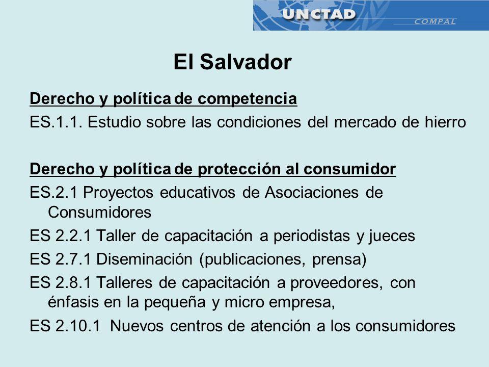 Derecho y política de competencia ES.1.1. Estudio sobre las condiciones del mercado de hierro Derecho y política de protección al consumidor ES.2.1 Pr