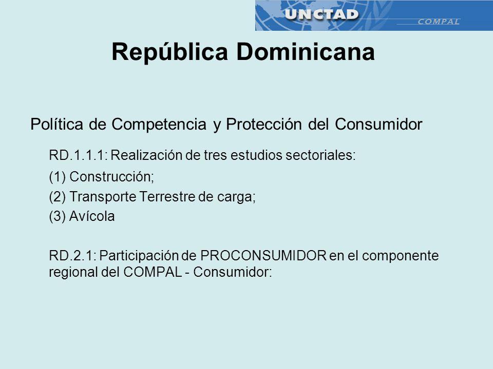 Política de Competencia y Protección del Consumidor RD.1.1.1: Realización de tres estudios sectoriales: (1) Construcción; (2) Transporte Terrestre de