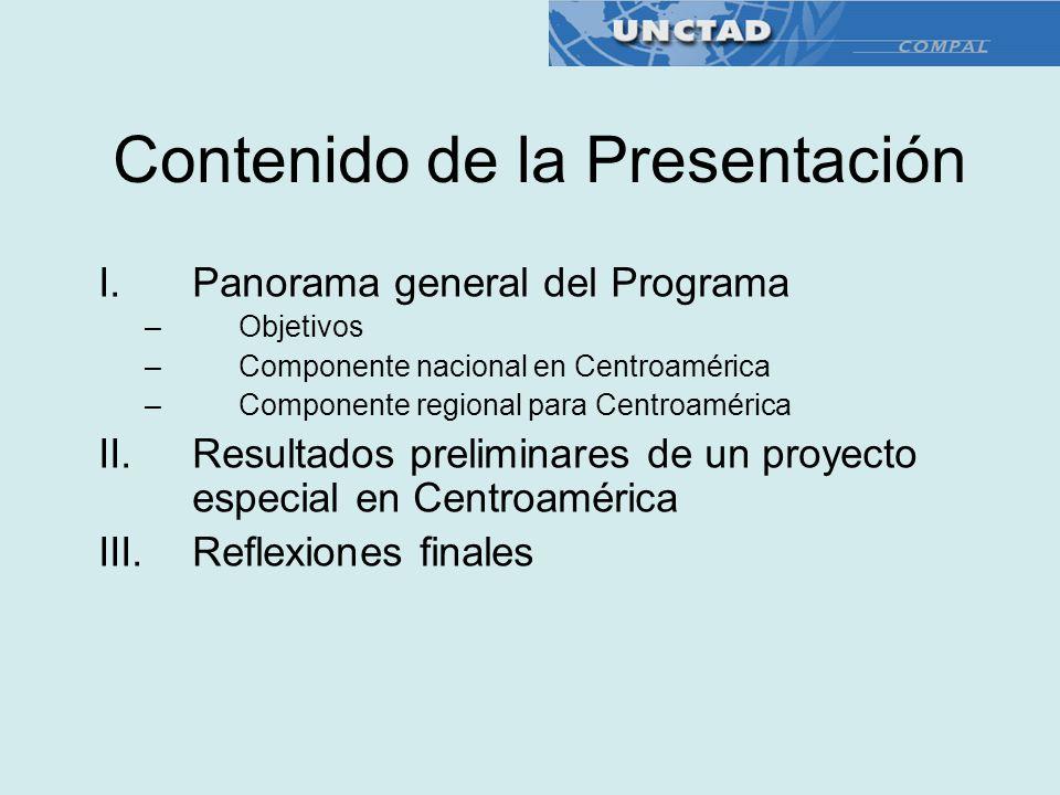 Contenido de la Presentación I.Panorama general del Programa –Objetivos –Componente nacional en Centroamérica –Componente regional para Centroamérica