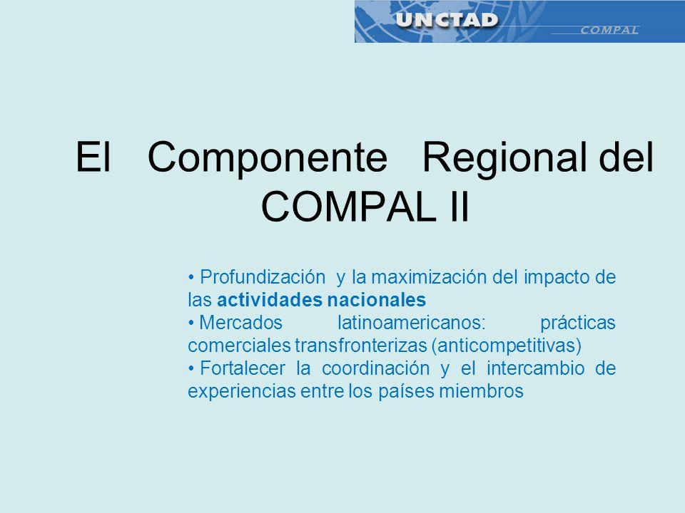 El Componente Regional del COMPAL II Profundización y la maximización del impacto de las actividades nacionales Mercados latinoamericanos: prácticas c
