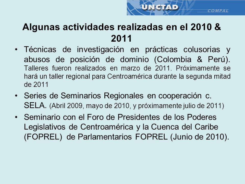 Algunas actividades realizadas en el 2010 & 2011 Técnicas de investigación en prácticas colusorias y abusos de posición de dominio (Colombia & Perú).