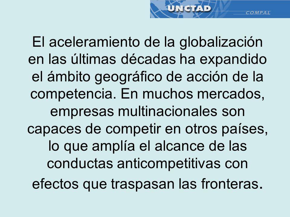 El aceleramiento de la globalización en las últimas décadas ha expandido el ámbito geográfico de acción de la competencia. En muchos mercados, empresa