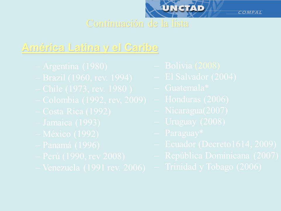 América Latina y el Caribe – Argentina (1980) – Brazil (1960, rev. 1994) – Chile (1973, rev. 1980 ) – Colombia (1992, rev, 2009) – Costa Rica (1992) –
