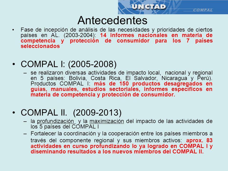 Antecedentes Fase de incepción de análisis de las necesidades y prioridades de ciertos países en AL. (2003-2004): 14 informes nacionales en materia de
