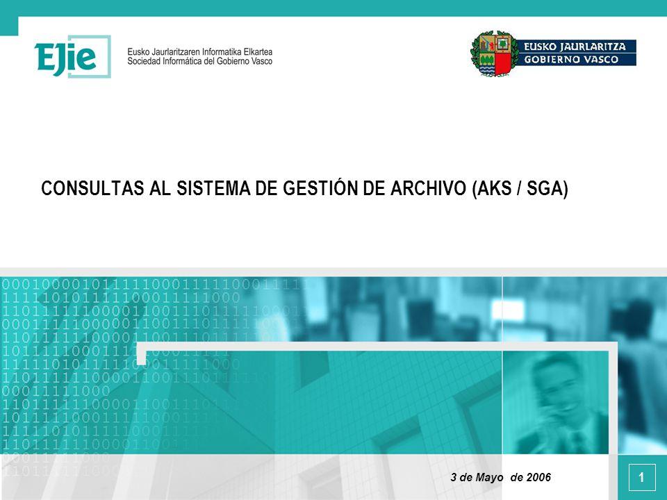 1 CONSULTAS AL SISTEMA DE GESTIÓN DE ARCHIVO (AKS / SGA) 3 de Mayo de 2006