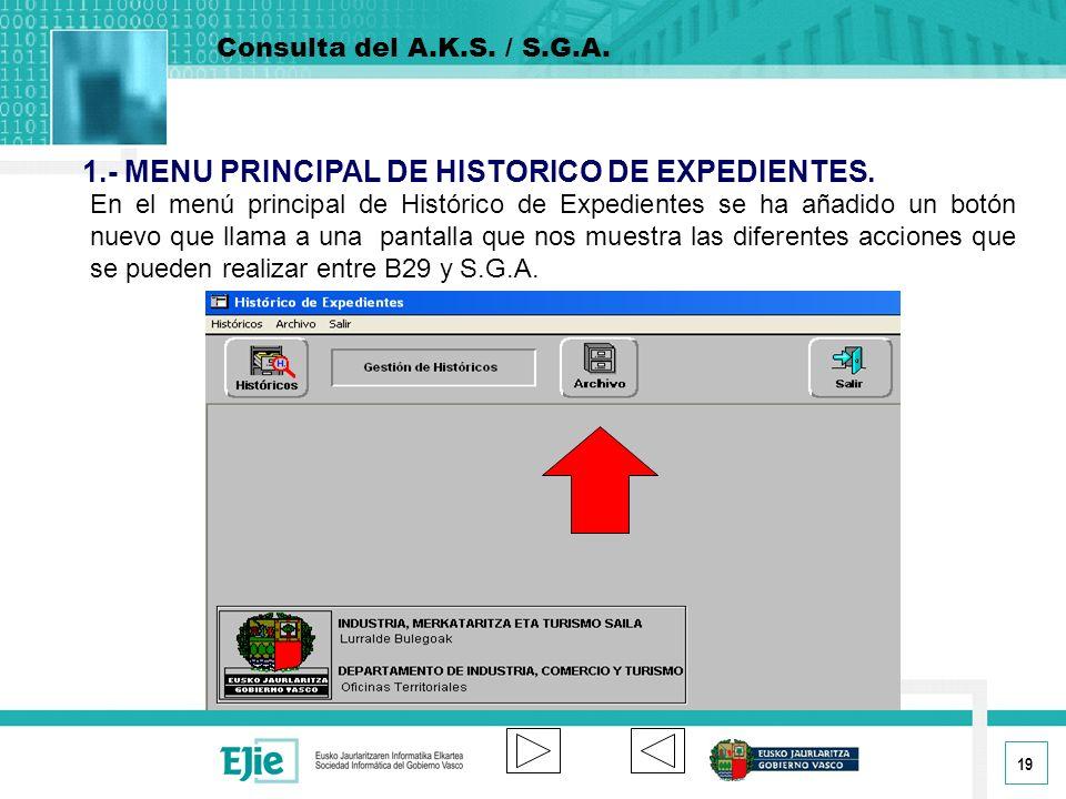 19 En el menú principal de Histórico de Expedientes se ha añadido un botón nuevo que llama a una pantalla que nos muestra las diferentes acciones que se pueden realizar entre B29 y S.G.A.