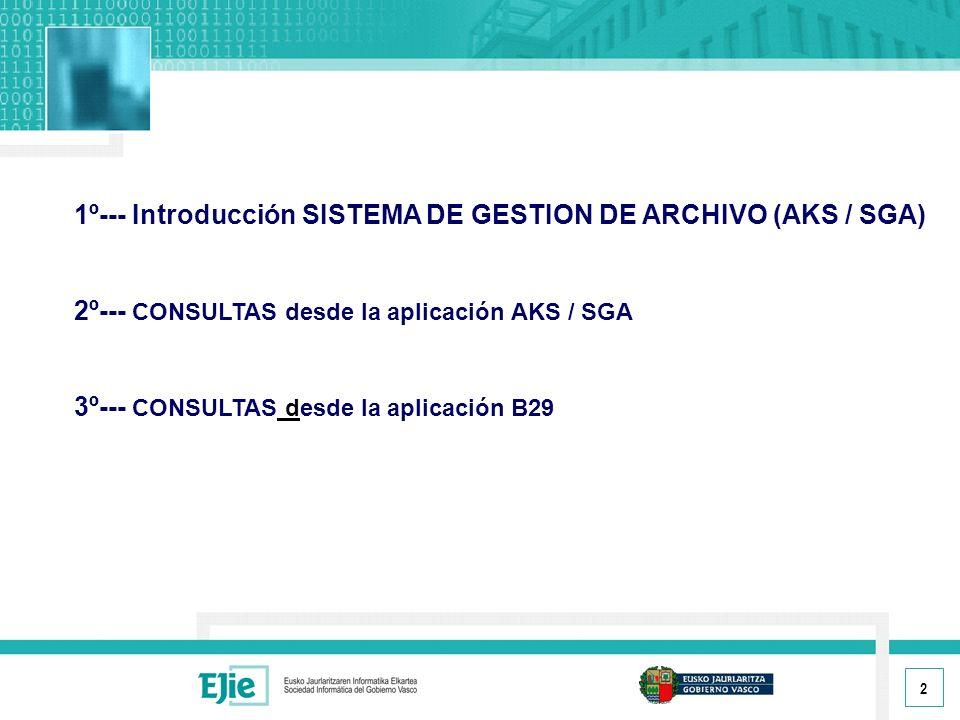 2 1º--- Introducción SISTEMA DE GESTION DE ARCHIVO (AKS / SGA) 2º--- CONSULTAS desde la aplicación AKS / SGA 3º--- CONSULTAS desde la aplicación B29