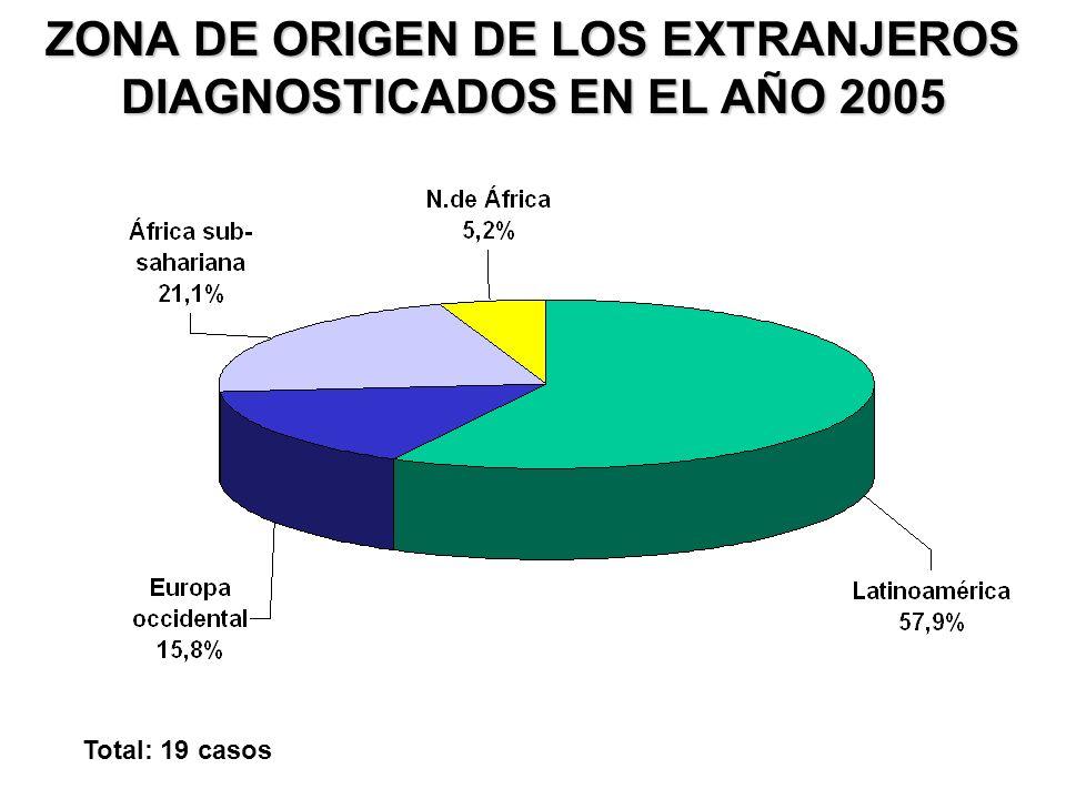 ZONA DE ORIGEN DE LOS EXTRANJEROS DIAGNOSTICADOS EN EL AÑO 2005 Total: 19 casos