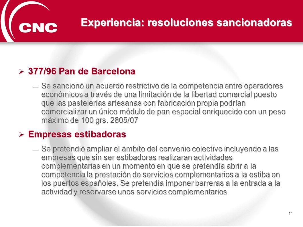 Experiencia: resoluciones sancionadoras 377/96 Pan de Barcelona 377/96 Pan de Barcelona Se sancionó un acuerdo restrictivo de la competencia entre ope