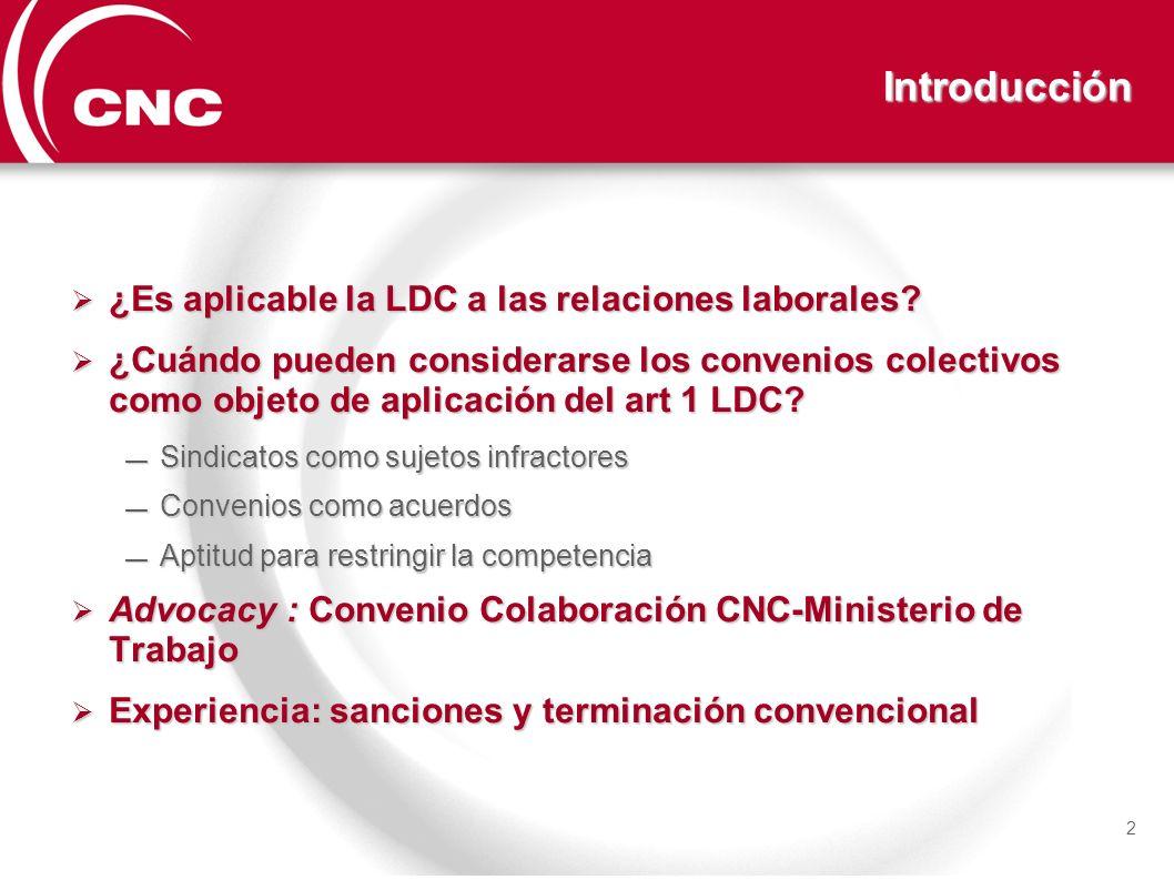 Introducción ¿Es aplicable la LDC a las relaciones laborales? ¿Es aplicable la LDC a las relaciones laborales? ¿Cuándo pueden considerarse los conveni