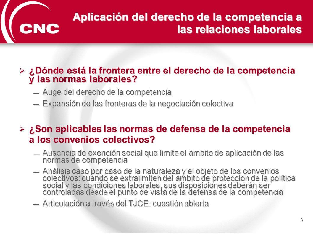 3 Aplicación del derecho de la competencia a las relaciones laborales ¿Dónde está la frontera entre el derecho de la competencia y las normas laborale