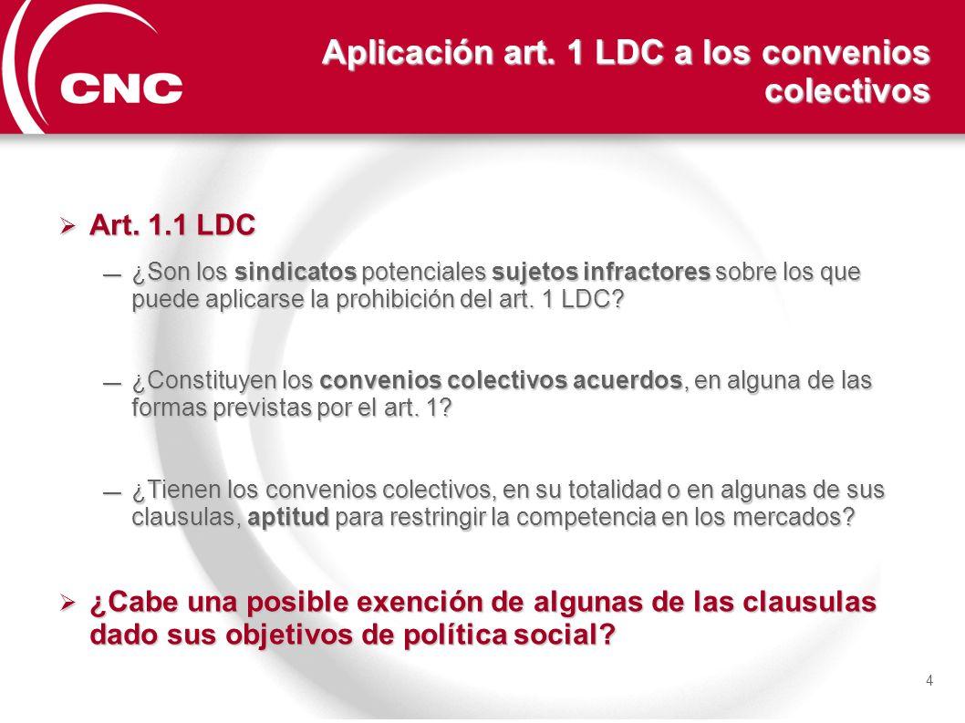 Aplicación art. 1 LDC a los convenios colectivos Art. 1.1 LDC Art. 1.1 LDC ¿Son los sindicatos potenciales sujetos infractores sobre los que puede apl